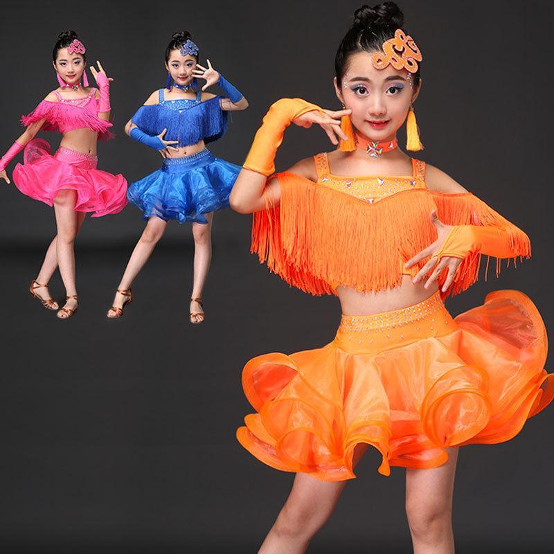 Compre Borla Vestido De Baile Latino Para Niñas Salsa Cha Cha Samba Tango Vestidos  Baile Vestidos Falda Niños Flecos Niños Profesional A  38.62 Del Michalle  ... a12229d9b50