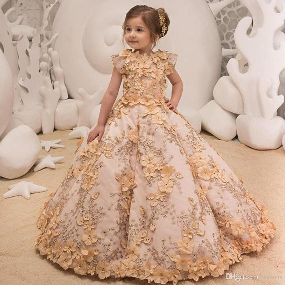1c9dd31aac3 Charming Ball Gown Flower Girls Dresses For Wedding Jewel Neck Short Sleeve  3D Flower Kids Pageant Dress Floor Length Satin Prom Skirts Joan Calabrese  ...
