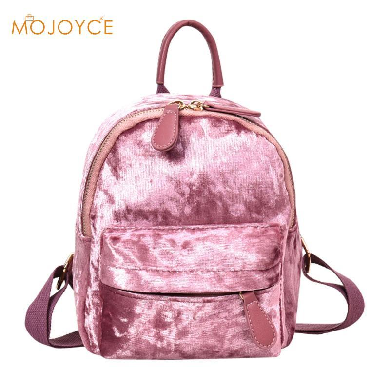 880973e9ed07 2018 Candy colors Women Soft Veet Backpack Teenager Girls Casual Style  Small Travel Backpacks School Bag for Teenagers Girls
