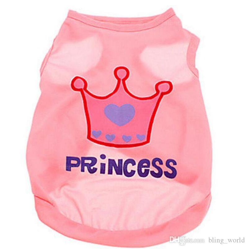 Princess Crown Dog Clothes Summer Small Dog Cat Vest Sleeveless T-Shirts Puppy Apparel For Chihuahua Teddy YW882