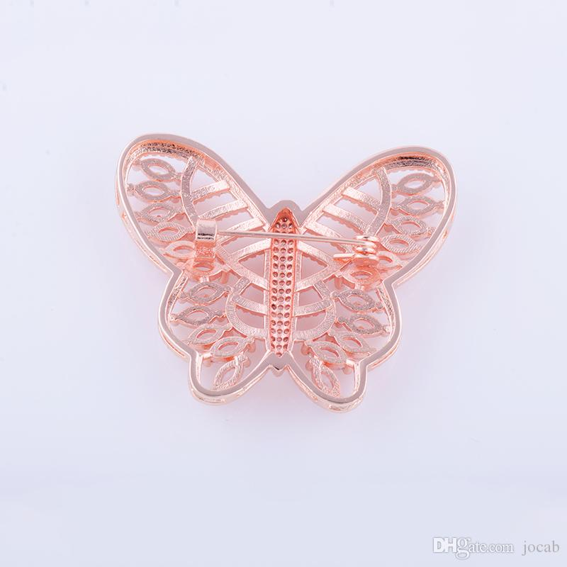Wholesale Handmade Diy Coat Findings Brooches Latest Design Crystal Rhinestone Butterfly Pin Lapel Hair Scarf Pins Brooch Jewelry Fittings