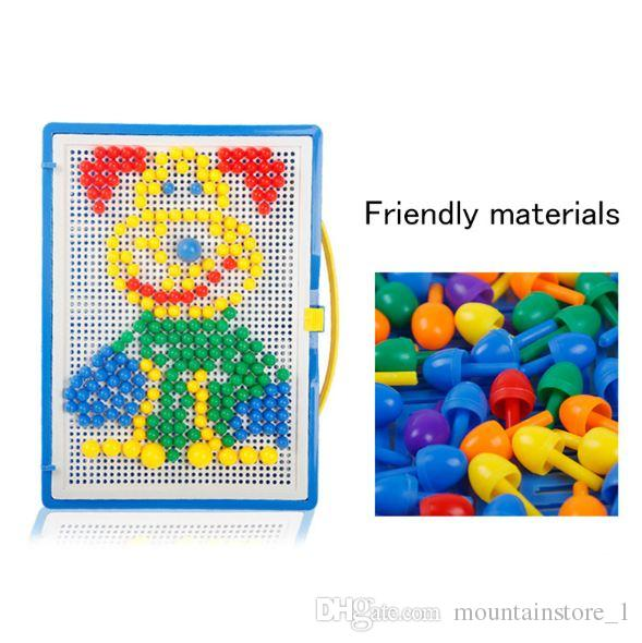Newly Mosaic Picture Puzzle Toy Children Composite Intellectual Educational Mushroom Nail Kit Toys With Retail Box