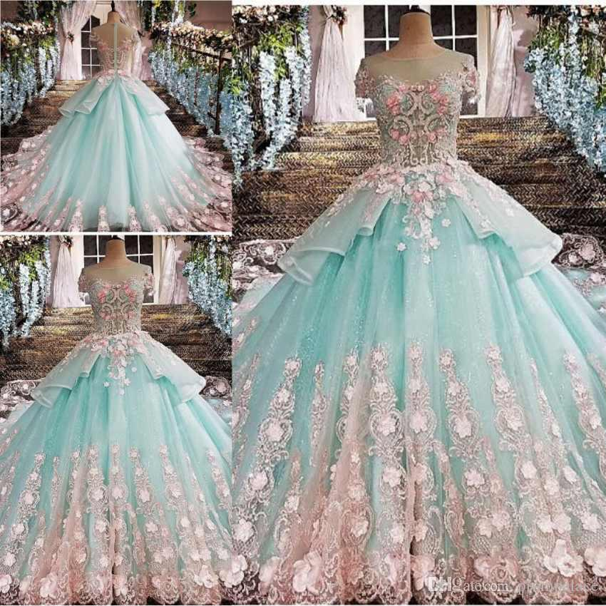 Fashion Girl Long Train Wedding Dresses Scoop Neck Lace 3D Flower Modern  Style Luxurious Wedding Gowns