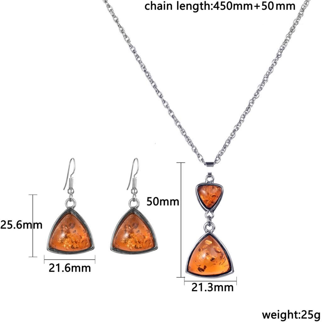 Famous Brand Pedant Jewelry Triangle Shaped Drop Dangle Earring & Necklace Bridal Jewelry Set for Women Party