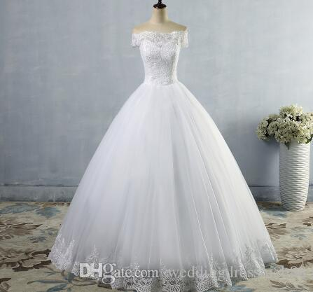 37b106fa0f ZJ9097 2018 New White Ivory Lace Wedding Dress With Lace Edge For Brides  Plus Size Maxi Formal Off The Shoulder Gown Size 2 26 Black And White  Evening ...