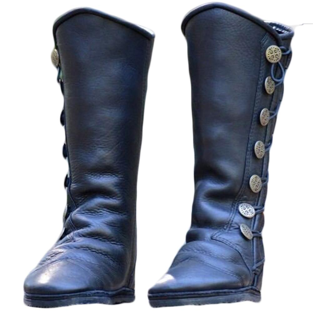be0a976b56e5 New Ladies Boots low square with side zipper large button metal decorative  women's boots Knee Leather Flat Riding Shoes