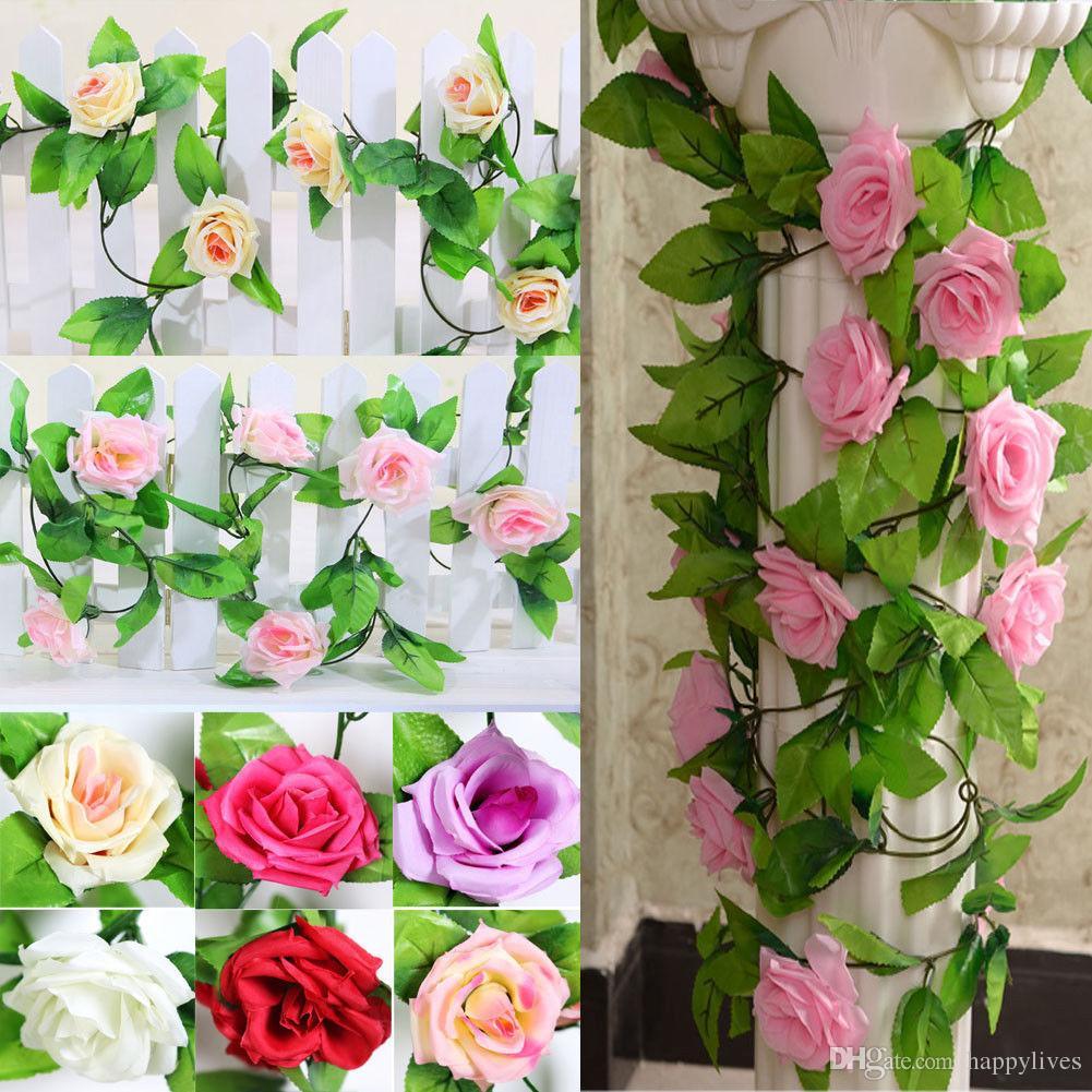 Flores artificiais 2.45 M Longo De Seda Rosa Flor Ivy Vine Folha Garland Wedding Party Home Decoração Favores Do Casamento Coroa De Flores