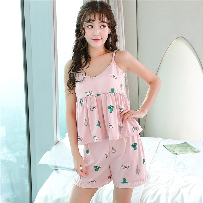 2e2ff8805b 2019 Cotton Women Summer Sling Sexy Pajamas Loose Nightwear Sweet Pajama  Set Female Printing Cute Two Piece Set Pyjama Elastic Shorts From Oott