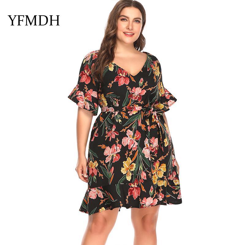 17328cbfa2f Plus Size Dresses 2018 Women Print Loose Dress Short Butterfly Sleeve Knee Length  Dresses Casual Plus Clothing Clothes Vestido Black Womens Dresses Party ...