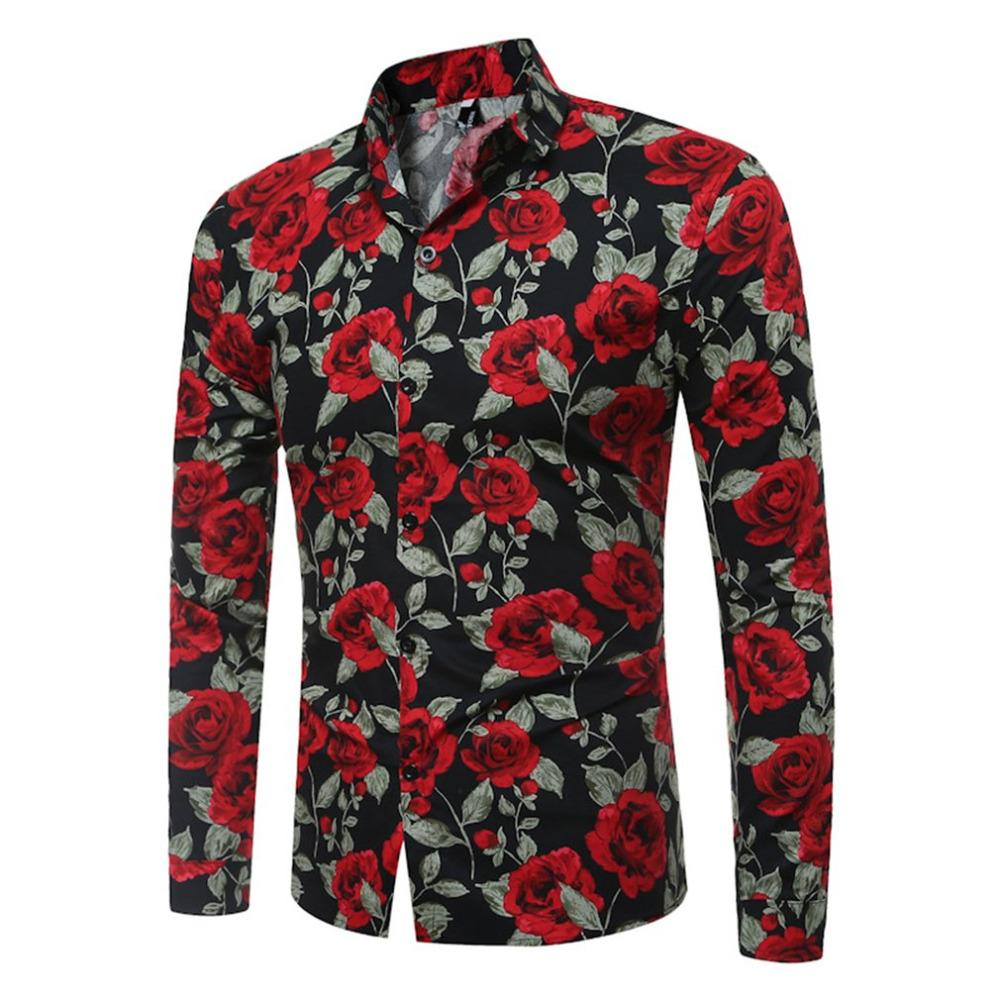 6d42b0b5 Mens Shirts Stylish Long Sleeve Floral Print Shirt Male Slim Fit ...