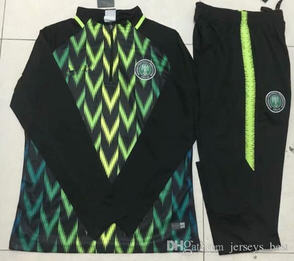 258e9943a Compre Top Nigéria Futebol Agasalho 2018 Jaqueta De Copa Do Mundo 18 19  Nigéria HOLLAND POGBA Brasil Jerseys Conjunto Calças De Treino De Futebol  De ...