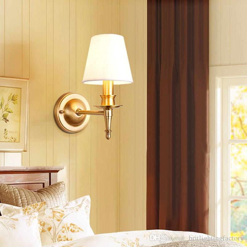 Grosshandel American Wandleuchte Schlafzimmer Lampe Kupfer Lampen