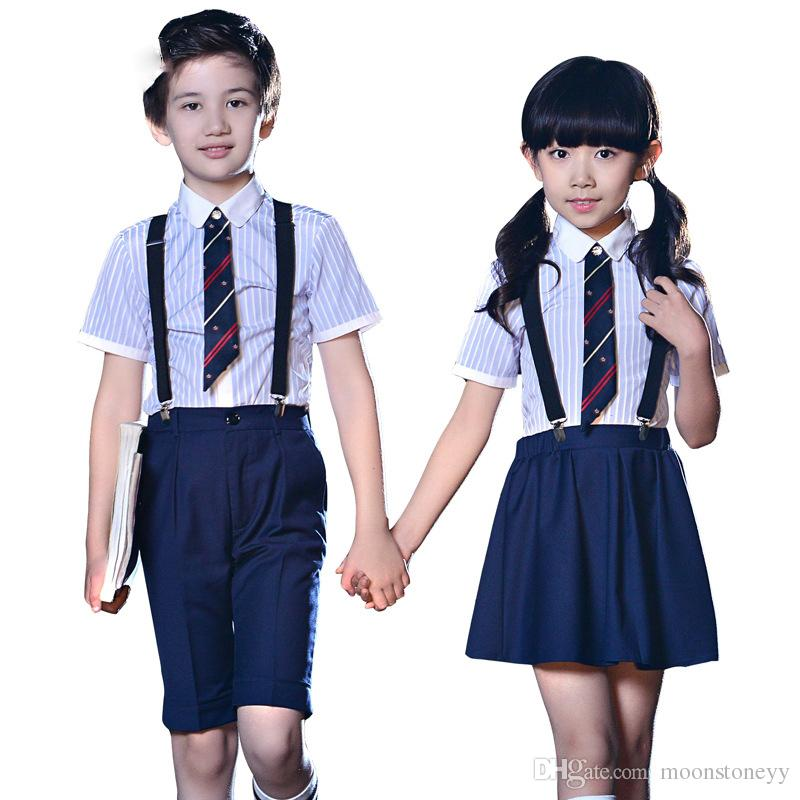 0b1a0ef2e Children Performance School Uniform Clothing Sets Boys Girls Striped ...