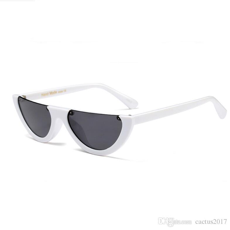Vintage Half Frame Sunglasses Women Cat Eye Small Black White Red ...
