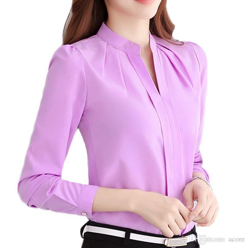 2019 Hot Women Shirts Blouses Long Sleeve Stand Collar Elegant