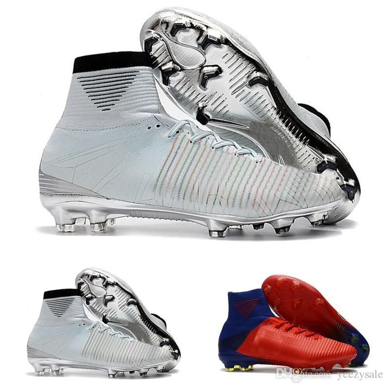 1562ac5b38bb3 Compre Venda Quente De Ouro Branco CR7 Chuteiras De Futebol Mercurial  Superfly FG V Sapatos De Futebol Cristiano Ronaldo De Yeezysale