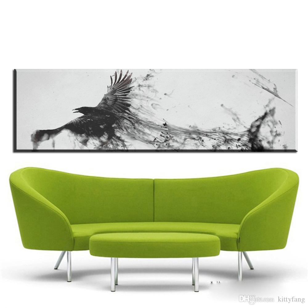 Satın Al 1 Panel Siyah Ve Beyaz Tuval Duvar Sanatı Soyut Uçan Kuş