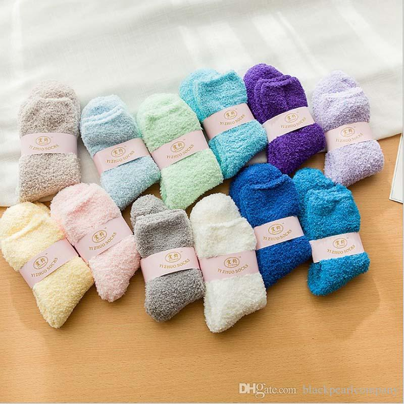 Women Cozy Cashmere Socks Winter Warm Sleep Bed Socks Floor Home Fluffy Socks Coral velvet Feet Warmer Christmas gift meias