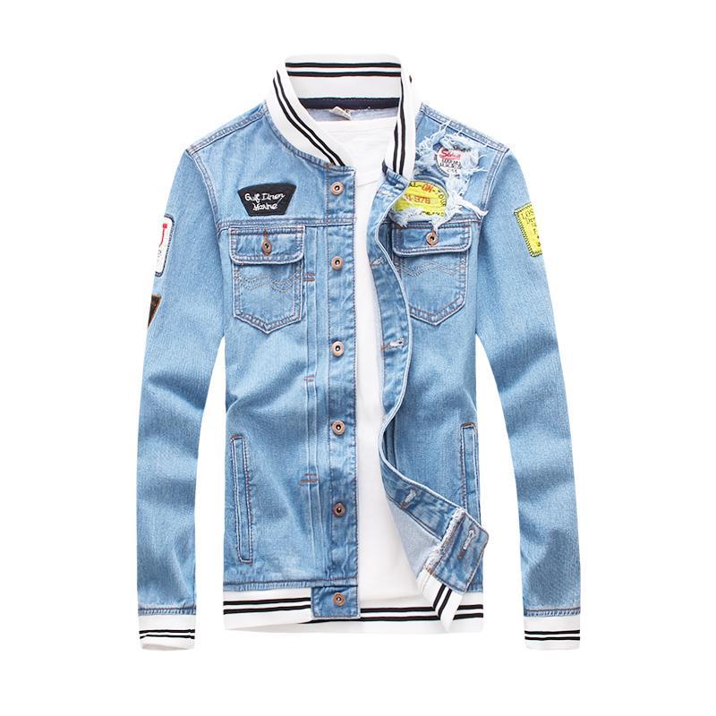 Classic Blue Baseball Denim Jackets Mens 2018 New Fashion Vintage