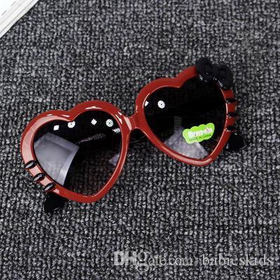 Fashion Polarized Baby Accessories Sunglasses Summer Cartoon Cute Heart Bow Cat Glasses Eyeglasses Eyeware For Kids Sunblock