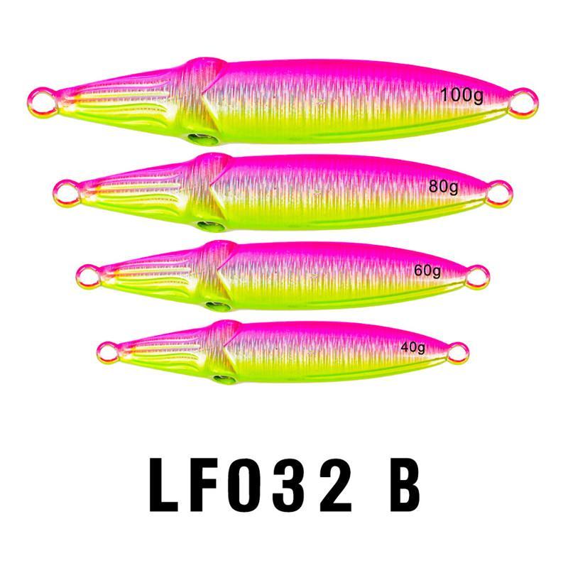 Doppelseitige Regenbogen Farben Laser Metall Jigs Köder 40g 60g 80g 100g Rostschutz Blei Fisch Spinnerbaits Salzwasser Fischköder