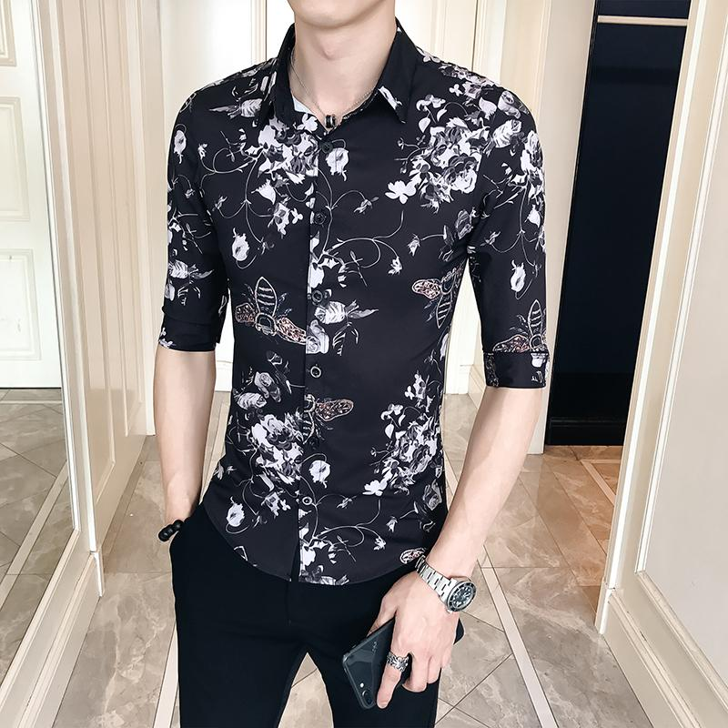 2019 18 Summer Five Point Loose Business Casual Long Sleeve Shirt Fashion  Gents Classic Personality Tide Male Nightclub Hair Stylist From Cactuse 87849a880