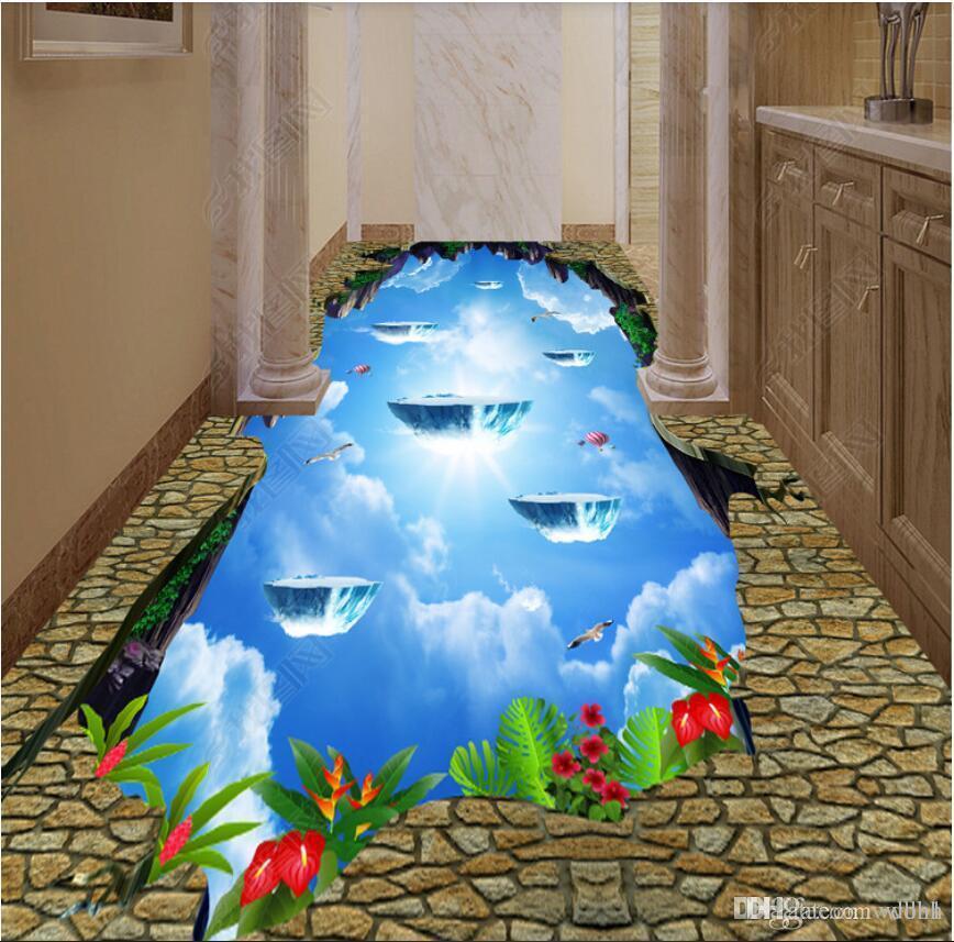 3D PVC-Bodenbelag benutzerdefinierte Foto Cliff Himmel Badezimmer Küche  Hotel Korridor Boden Boden Fliesen Wandbilder Tapete