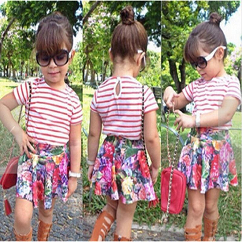INS Boys Girls Zebra Leopard Clothing Suits Cotton Letter Print Striped T-shirt Flower Mini Skirt 2018 Kids Summer Boutique Clothes