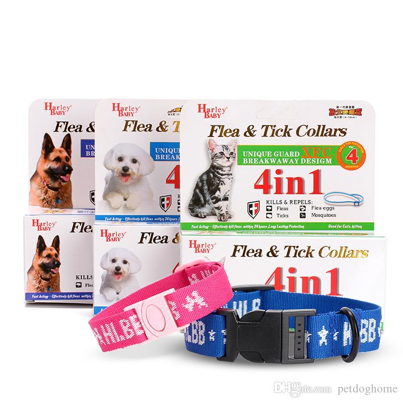 New 4in1 Safety Adjustable Dogs Cat Collar 4 Month Control Anti Fleas Ticks&Mosquitoes Collar Nylon Neck Strap For Cat/Dog