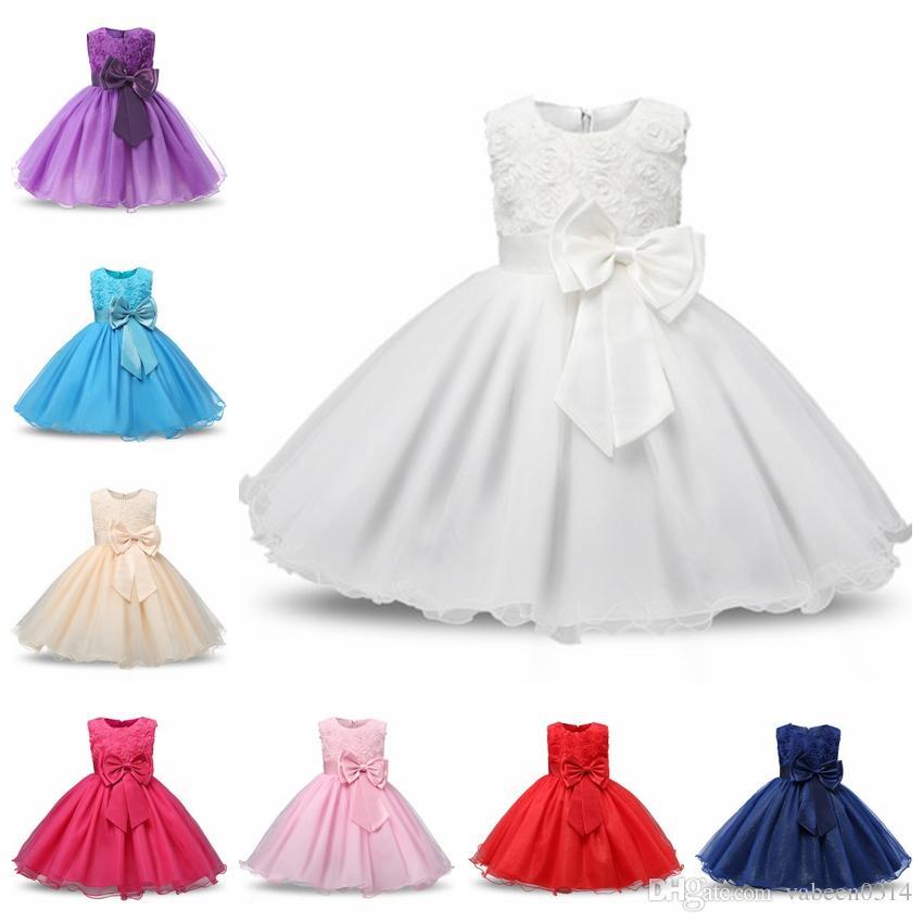 00114680b06c 2018 New Spring And Summer Flower Girl Rose Bow Princess Dress Skirt ...