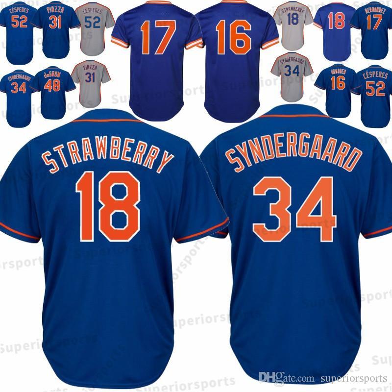 reputable site c802f da7be New York Mets 18 Darryl Erdbeer-Trikot 16 Dwight Gooden 17 Keith Hernandez  34 Noah 31 52 Yoenis Cespedes Baseball Trikots