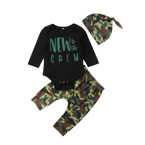 6b5b1ef409ae4 2019 Newborn Baby Boy Long Sleeve Letter Romper Tops Jumpsuit Camo Pants  Hat Outfits Autumn Cotton Boys Kids Clothes Set 0 24M From Buycenter, ...