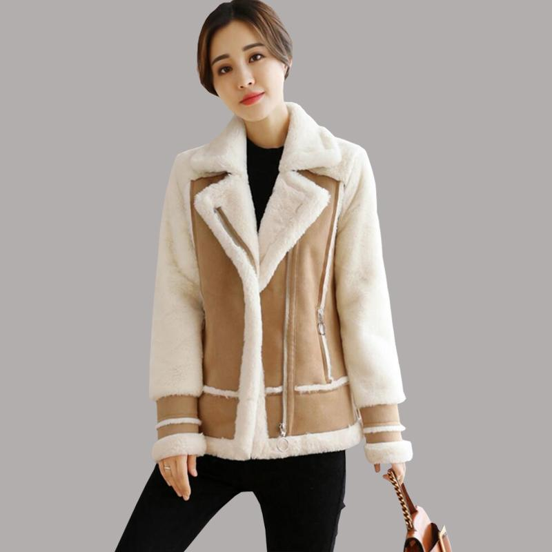 0220ee6ab 2019 Fur Coat Women 2018 Faux Shearling Sheepskin Coats Women Thicken Suede  Jackets Autumn Winter Lambs Wool Short Motorcycle Coats From Aprili, ...