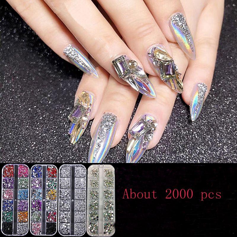 New 1 Box Crystal Rhinestones Nails Tips Clearab No Hot Fix Glue