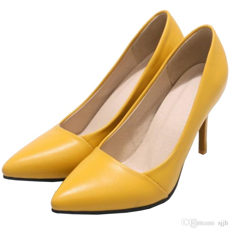 SJJH 2018 Pumps with Pointed Toe and Stiletto Elegant Working Dressy Shoes for Fashion Women with Large Size Available A317