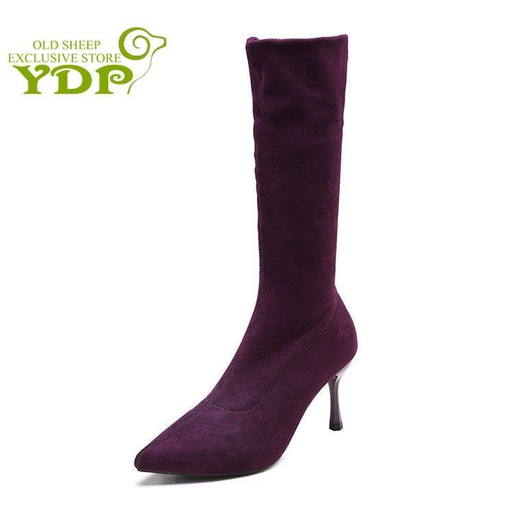 6580167f34dea0 Großhandel YDP Mid Tube Damen Stiefel Herbst Und Winter Fashion High Heels Damen  Stiefel Spitze Wildleder Stiletto Schuhe Größe 34 39 Von Bluemoodd