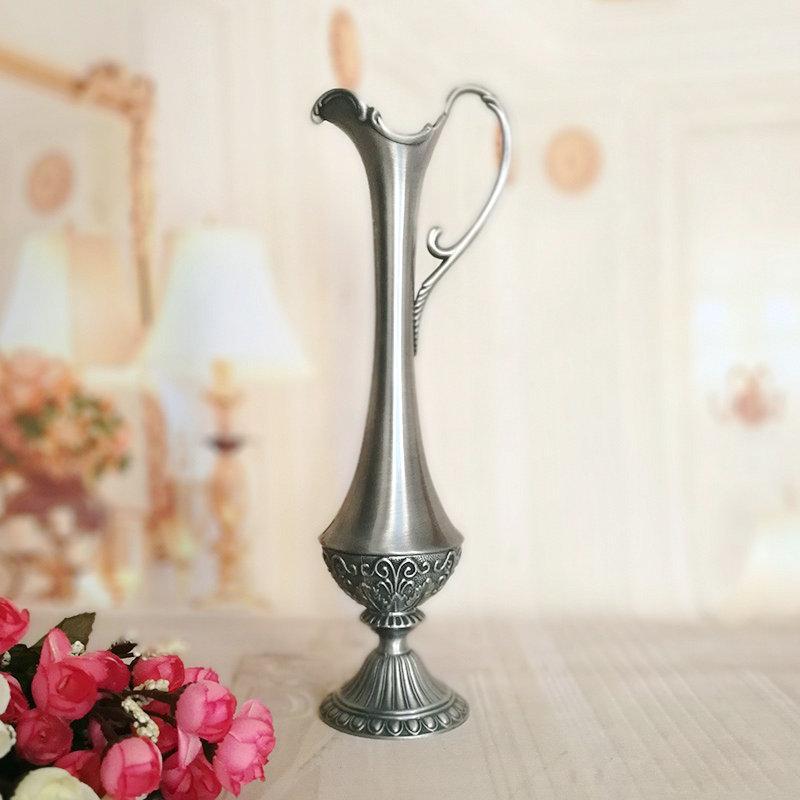 Height 26cm Metal Vase Vintage Home Decoration Antique Flower Carved