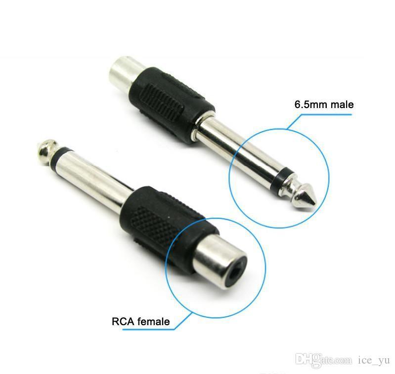 Conector hembra estéreo RCA AV de 6,5 mm 1/4 '' macho Adaptador hembra de cable AV para adaptador de transmisor de micrófono