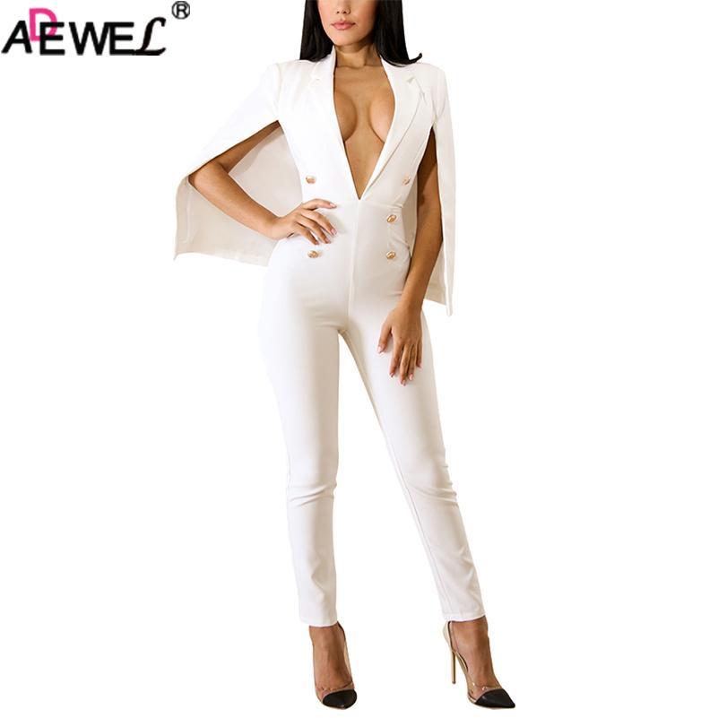 6ca433ed3faf Wholesale Sexy Plunge V Neck Bodycon Jumpsuits for Women 2018 White Black  Sleeveless Tippet Long Pants Overall Party Office Rompers Jumpsuit Online  with ...