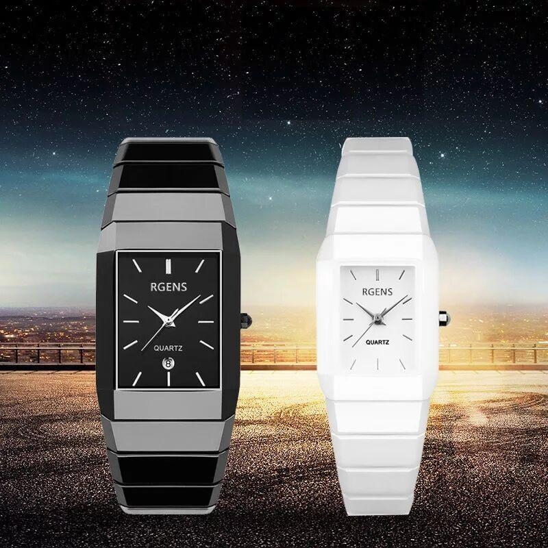 2564d8a112f5 Compre Ama Relojes De Pulsera Negro Blanco Cuarzo Cuadrado De Cerámica Para  Hombre Relojes De Mujer A Prueba De Agua RGENS Marca Pareja Pareja Mujer  Relojes ...