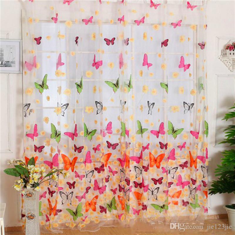 Acheter 100 200 Cm Papillon Tulle Voile Porte Fenêtre Scraf