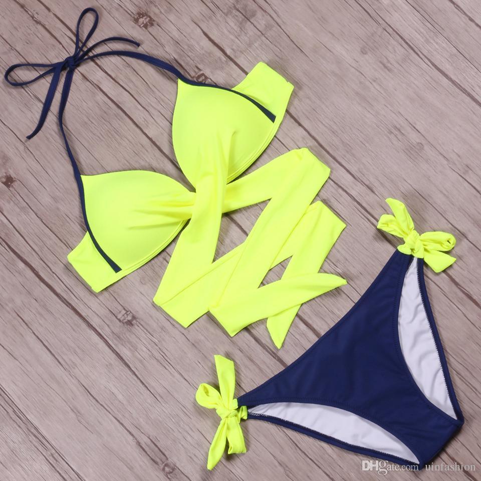 2018 Sexy Bikini Women Swimsuit Push Up Swimwear Criss Cross Bandage Halter Bikini Set Beach Bathing Suit Swim Wear