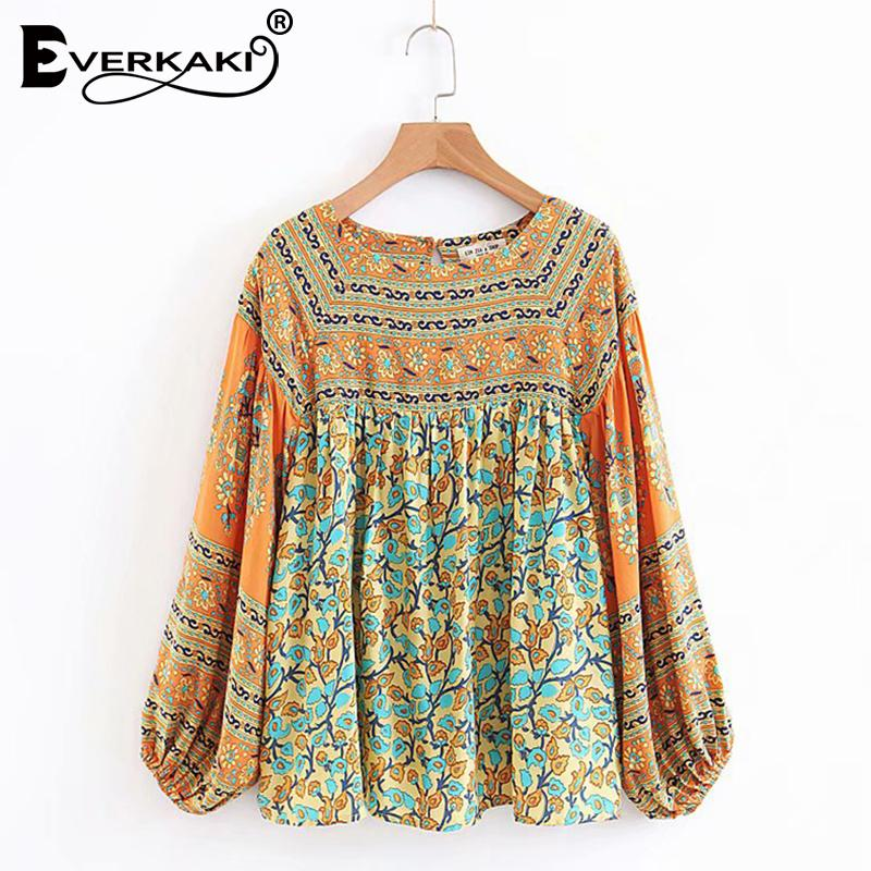 99a06b126b57e0 2019 Everkaki Bohemian Floral Chiffon Blouse Women Tops Gypsy Shirts  Lantern Long Sleeve Boho Womens Tops And Blouses 2018 Autumn From  Vanilla04, ...