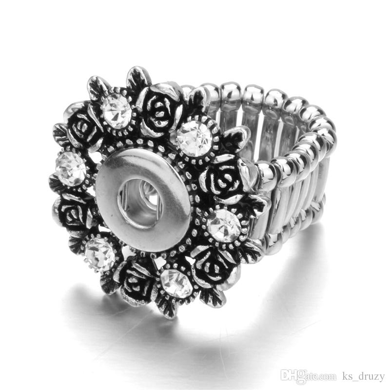 10 Styles Snap Rings Rhinestone Vintage Butterfly Flower Ring DIY 12 Snap Button Adjustable Stretch Elastic Band Rings