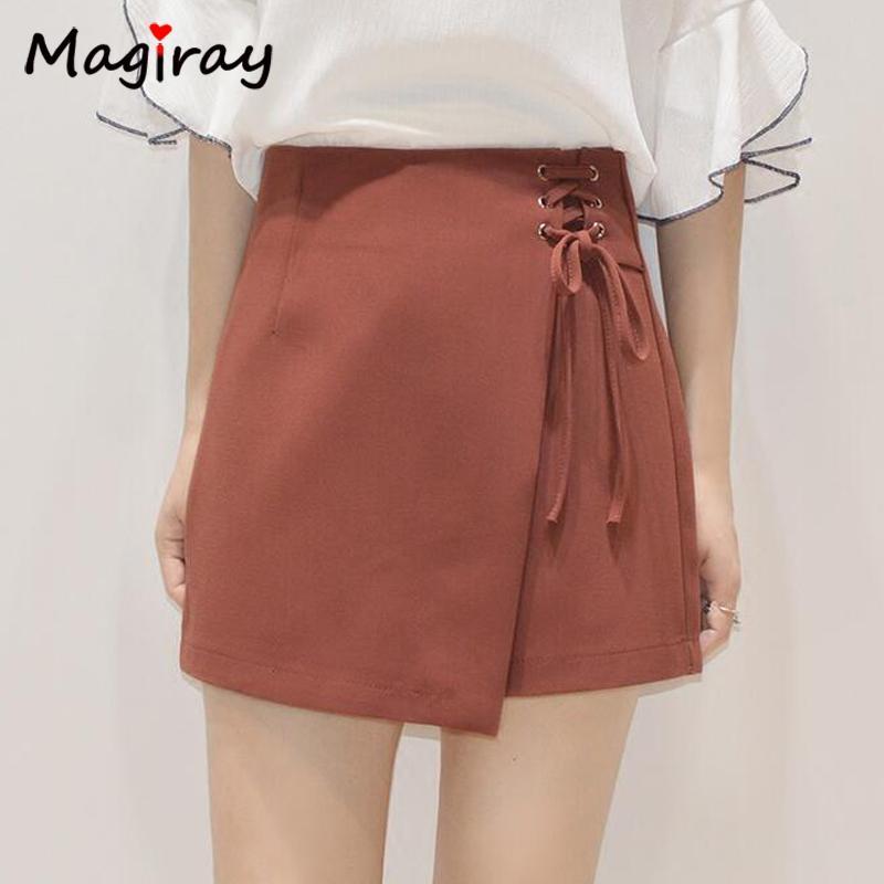 bf1bb46e55e 2019 Magiray A Line Asymmetric Mini Skirts Solid Lace Up Bandage High Waist  Faldas Saia Chic Irregular Skort Shorts Summer Slim C480 From Vanilla03
