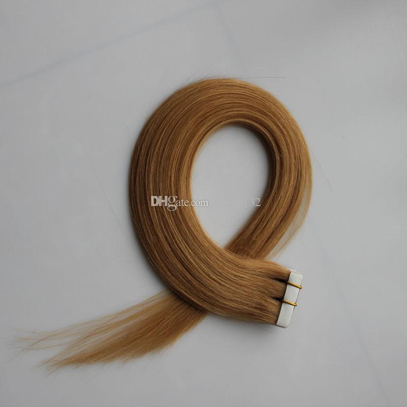 100g лента в человеческих наращиваниях волос Прямая 40шт бразильская дева волос Honey Blonde Tape в человеческих волосах