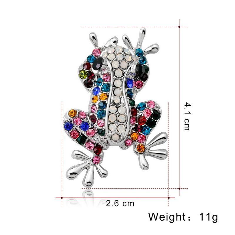 Quatro Cores Rhinestone Sapo Pinos E Broches Para As Mulheres Animal Lapela Pin Emblemas Broche Para Um Lenço de Jóias de Ouro-Cor Acessórios Broche