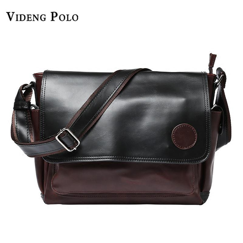VIDENG POLO Men Bag 2017 New Brand Crazy Horse PU Leather Crossbody  Shoulder Bag Vintage Business Messenger Bags Male Flap Bolsa Leather Bags  For Women ... 29a8227e6214f
