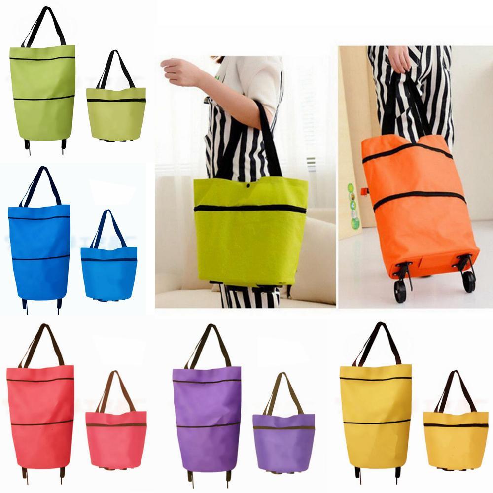 90d53d3d4 Foldable Shopping Trolley Bag Cart Rolling Wheel Grocery Tote Handbag  Travel Folding Grocery Shopping Bag EEA115 Handbags Wholesale Reusable  Shopping Bags ...
