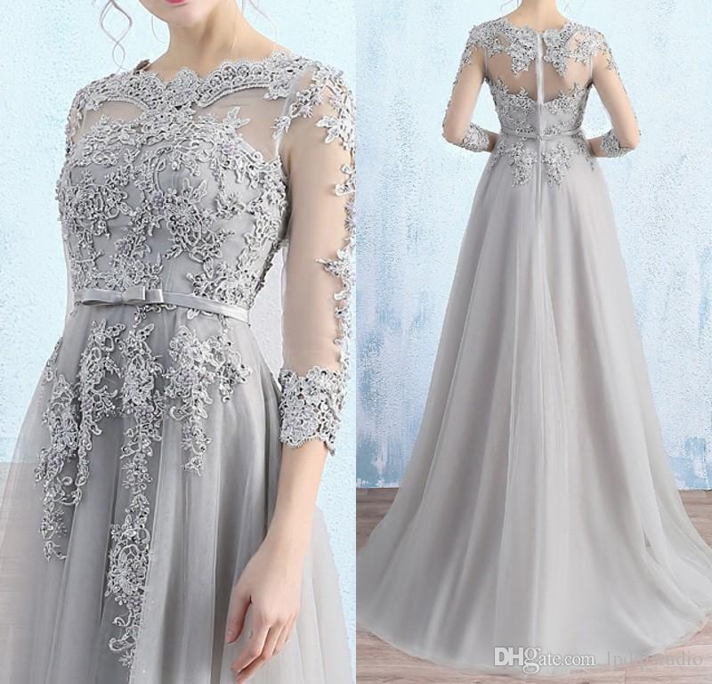 Gorgeous Light Gray Mother of the Bride Dresses Illusion Sheer with Applique Major Beading Zipper Back Sweep train Wedding Party Dress